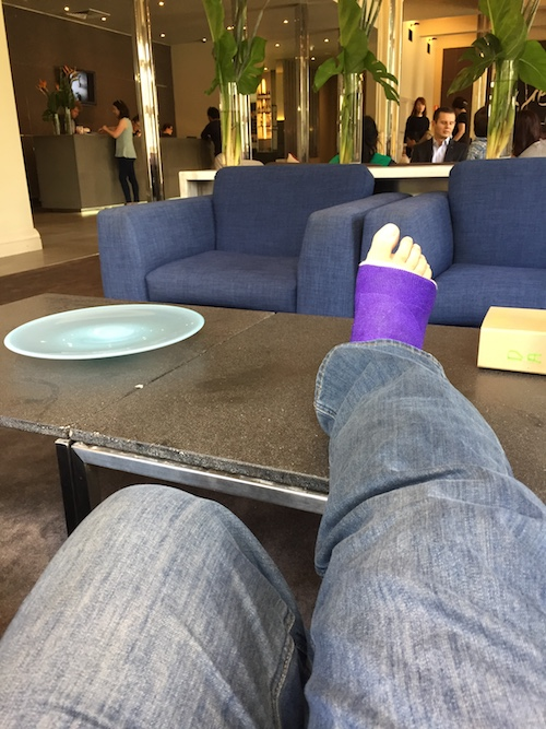 broken leg in jeans